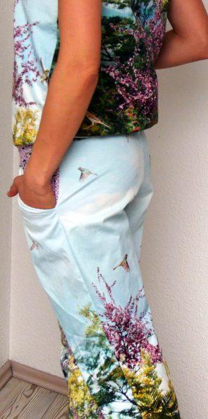 Jumpsuit Julika von Prülla aus Baumwollstoff mit versehenem Fotodruck mit langem Bein