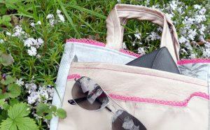 Taschen-Organizer Hedi von Frau Fadenschein SM in ihrem neuen Buch 1 Frau 16 Handtaschen mit zwei außenliegenden Steckfächern