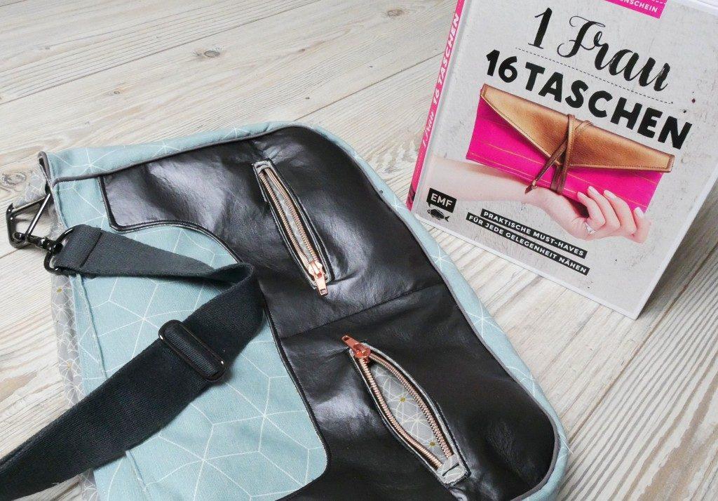 """Handtasche """"Anouk"""" von Frau Fadenschein mit 2 außen liegende Reißverschlussfächern, dahinter befinden sich zwei entsprechend große Steckfächer"""