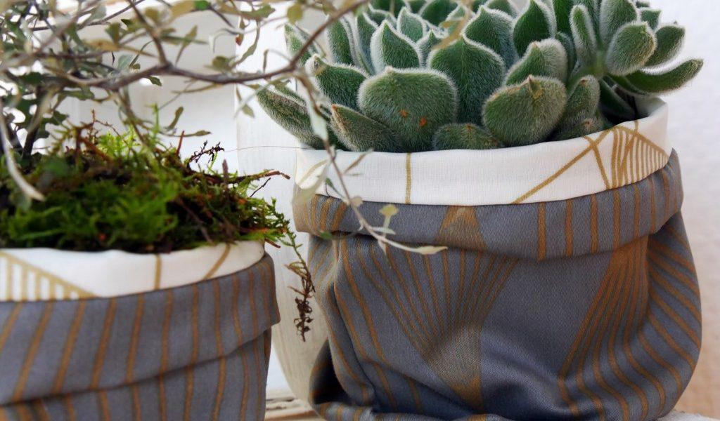 fantastisch praktische Ordnungshelfer nähen von Frau Fadenschein Blumenübertöpfe selbst genäht
