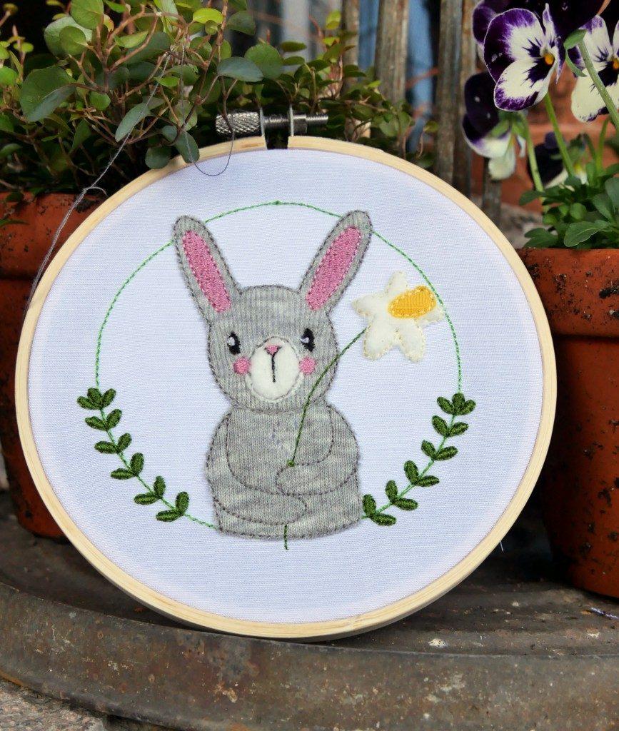 Stickdatei Hase mit Blume von MakeMa kreativfrühling Instachallenge