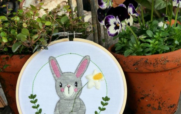 Stickdatei Hase mit Blume von MakeMa kreativfrühling Instachallenge Facebook